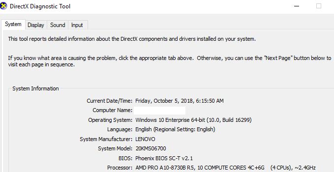 Cara cek spesifikasi Laptop pada Windows 10 menggunakan DXDIAG