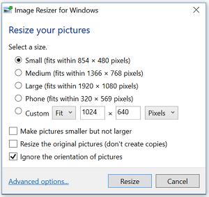 Konfigurasi dalam mengecilkan ukuran banyak foto secara bersamaan di Windows 10