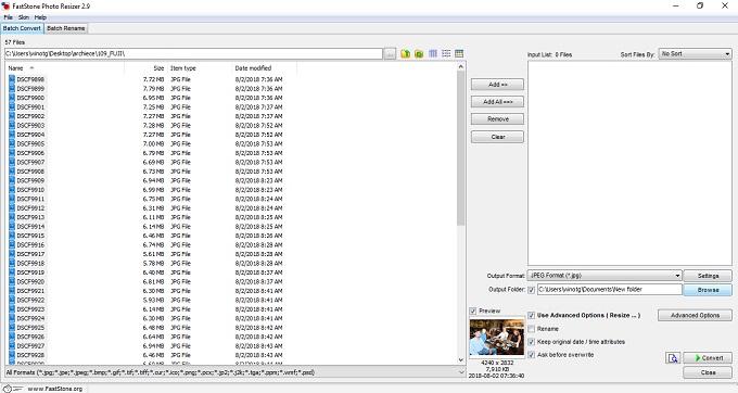 Mengecilkan ukuran foto secara bersamaan menggunakan program portable FastStone Photo Resizer