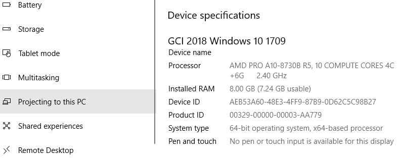 Hasil cek spesifikasi laptop windows 10 menggunakan About PC