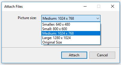 Outlook memberikan pilihan hasil ukuran file foto yang akan dikecilkan