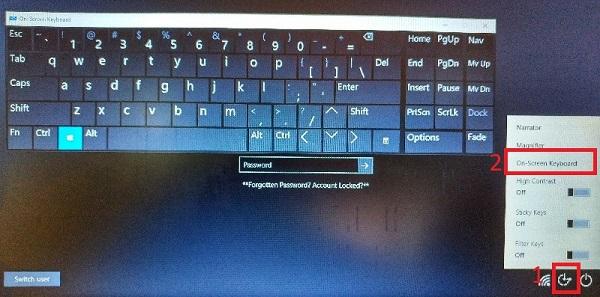 Menggunakan On Screen Keyboard Pada saat login