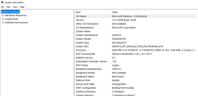 Hasil pengecekan spesifikasi Laptop menggunakan System Setting