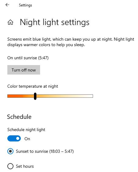 Langkah ke-3, mengaktifkan Night Light pada Windows 10