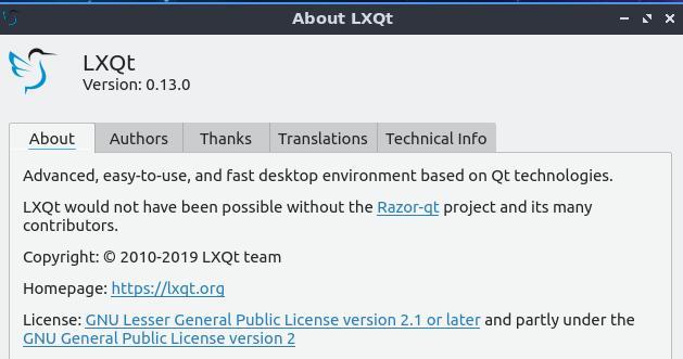 Desktop Environment LXQt