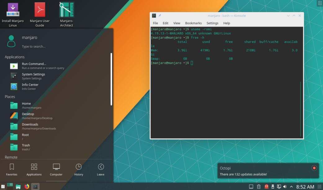 Manjaro dengan Desktop Environment KDE