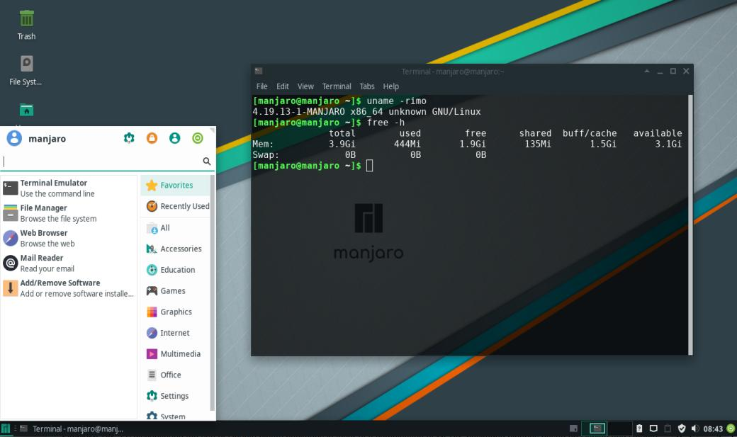 Manjaro dengan Desktop Environment Xfce