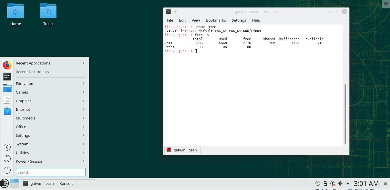 Tampilan OpenSUSE dengan desktop environment KDE