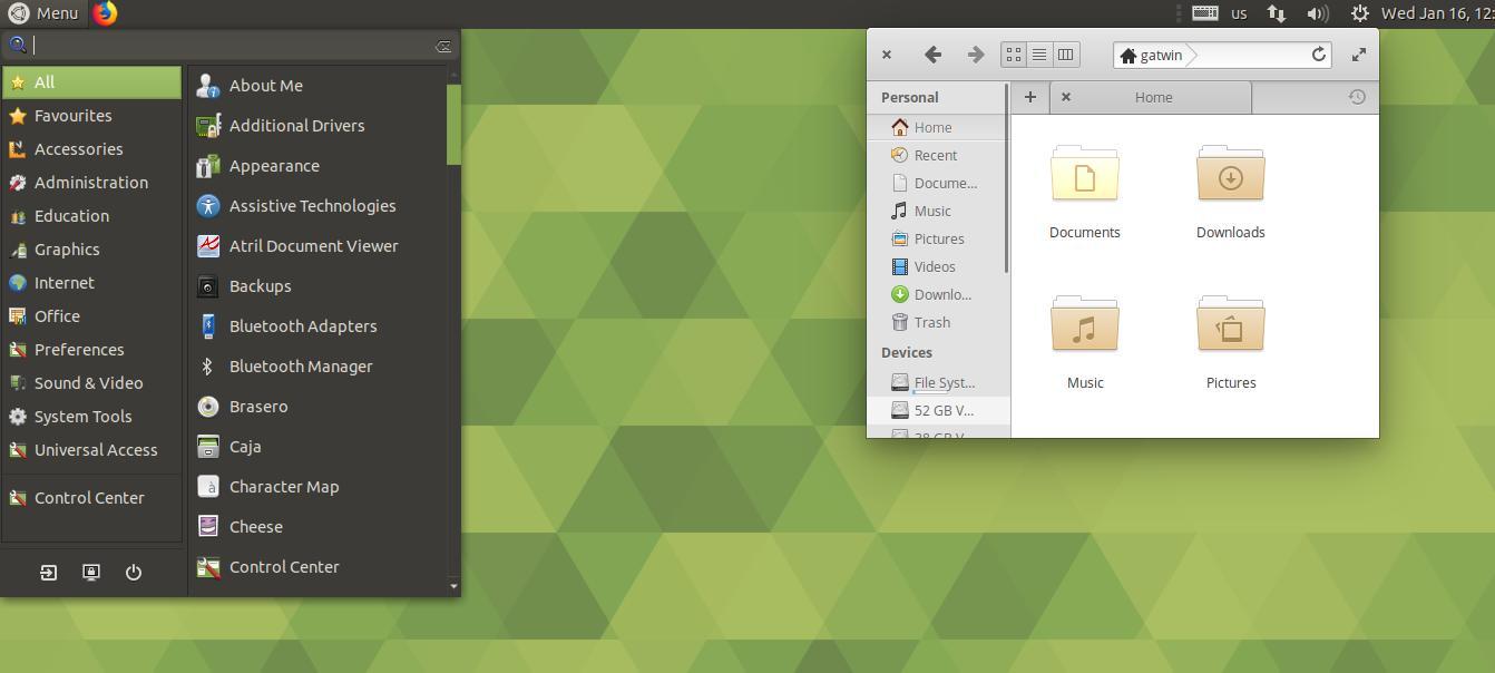 Tampilan Desktop Environment Ubuntu MATE