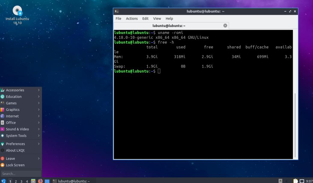 Tampilan Lubuntu 18.1 dengan desktop environment LXDE /LQXT
