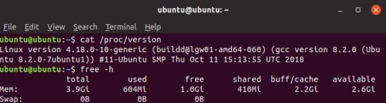 Memory terpakai pada Linux Ubuntu 18.10