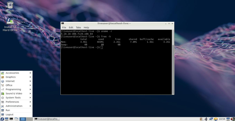 Tampilan Linux Fedora