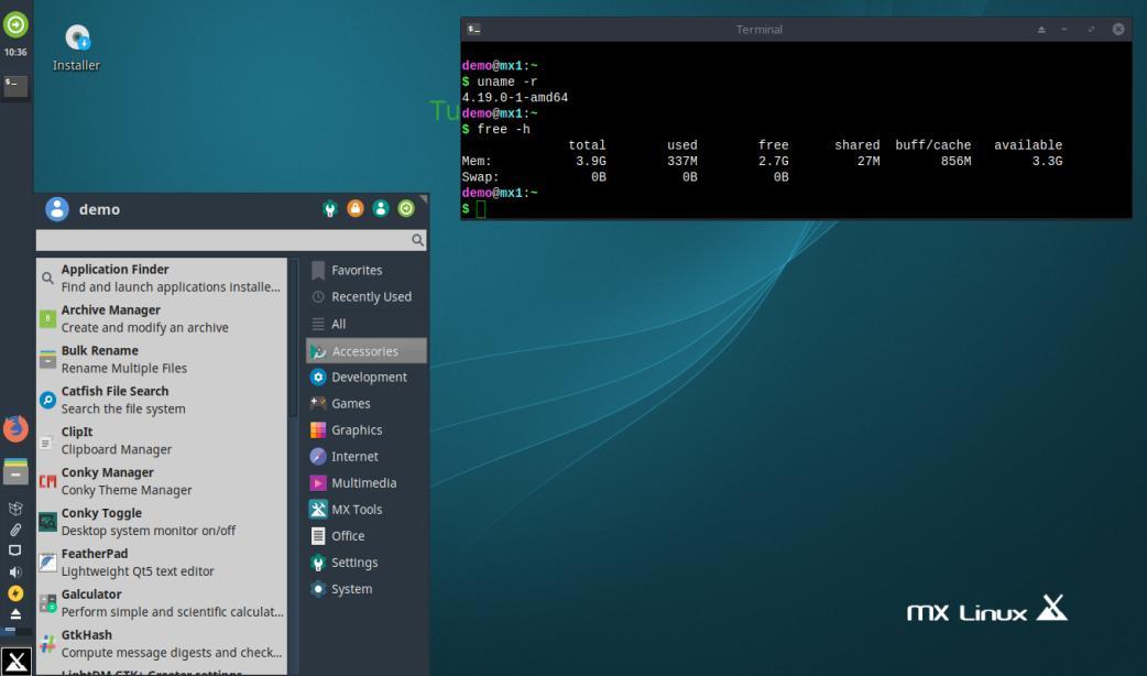 Tampilan MX Linux dengan desktop environment Xfce