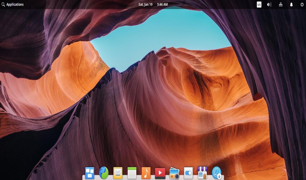 Tampilan Desktop Elementary OS 5.0 Juno dengan Desktop Environment Pantheon