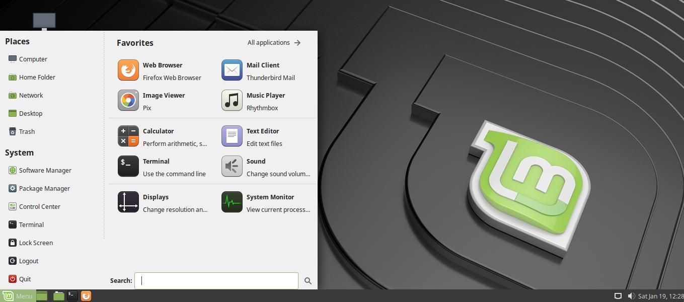 Tampilan Linux Mint dengan desktop environment Matte