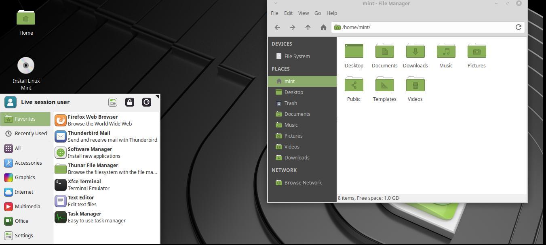 Tampilan Linux Mint 19.1 dengan Desktop Environment Xfce