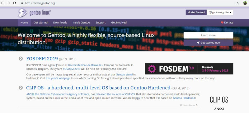 Tampilan Website Gentoo Linux