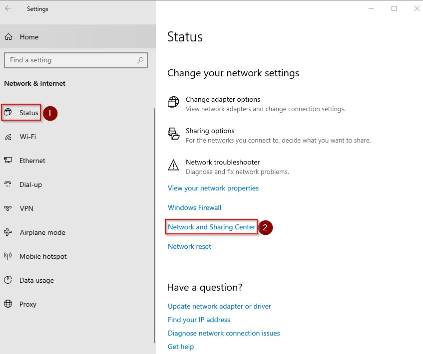 Pilih status dan Network and Sharing Center untuk cek password Wifi di Windows 10