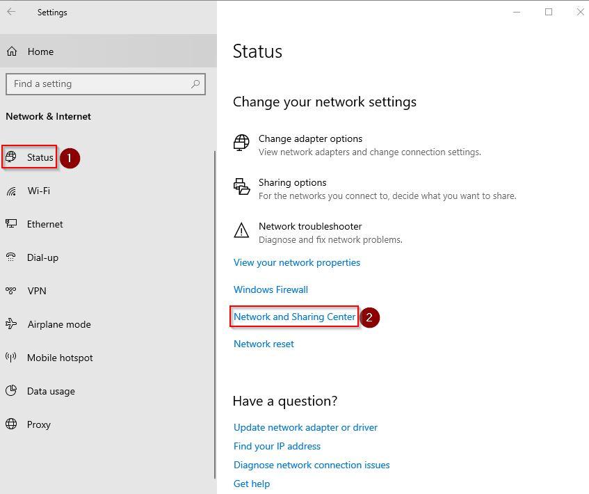 Pilih status dan Network and Sharing Center untuk cek password Wifi di Windows 10