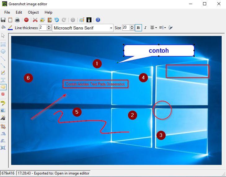 Contoh Penggunaan Greenshot Image Editor untuk menambahkan anotasi pada Windows 10