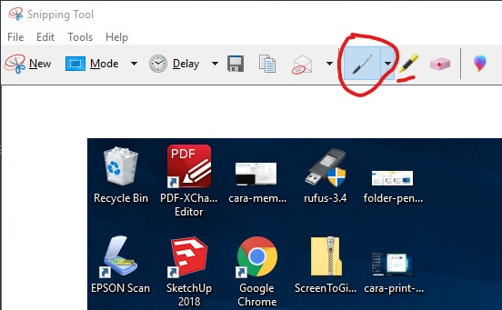 Tampilan hasil print screen di Snipping Tools Windows 10