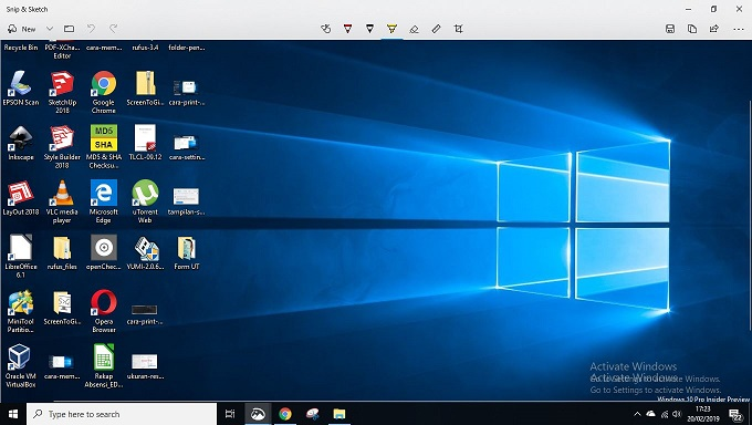 Tampilan Snip and Sketch Pada Windows 10