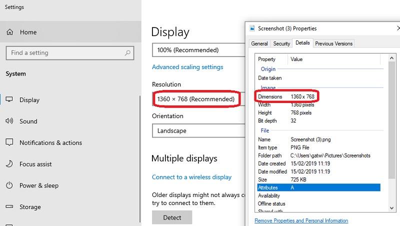 Ukuran resolusi gambar hasil print screen akan sama dengan resolusi monitor