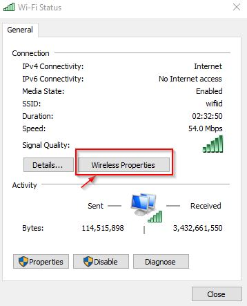 Untuk mengetahui password wifi di Windows 10 kita tinggal klik wireless properties