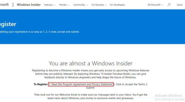 Halaman agreement Windows Insider Program