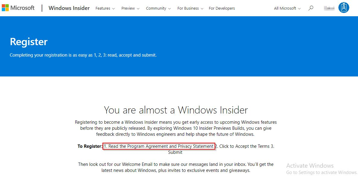 Halaman agreement Windows Insider Program