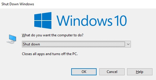 Shortcut Shutdown Windows 10