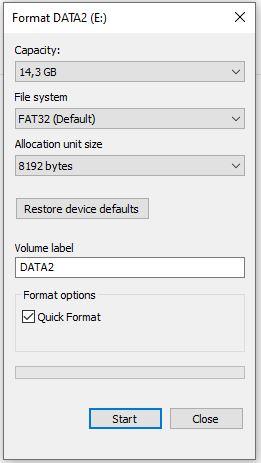 Secara default pilihan formatnya berada pada FAT32