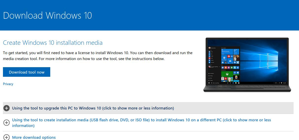 Download Windows 10 ISO dengan Tools Media Creation