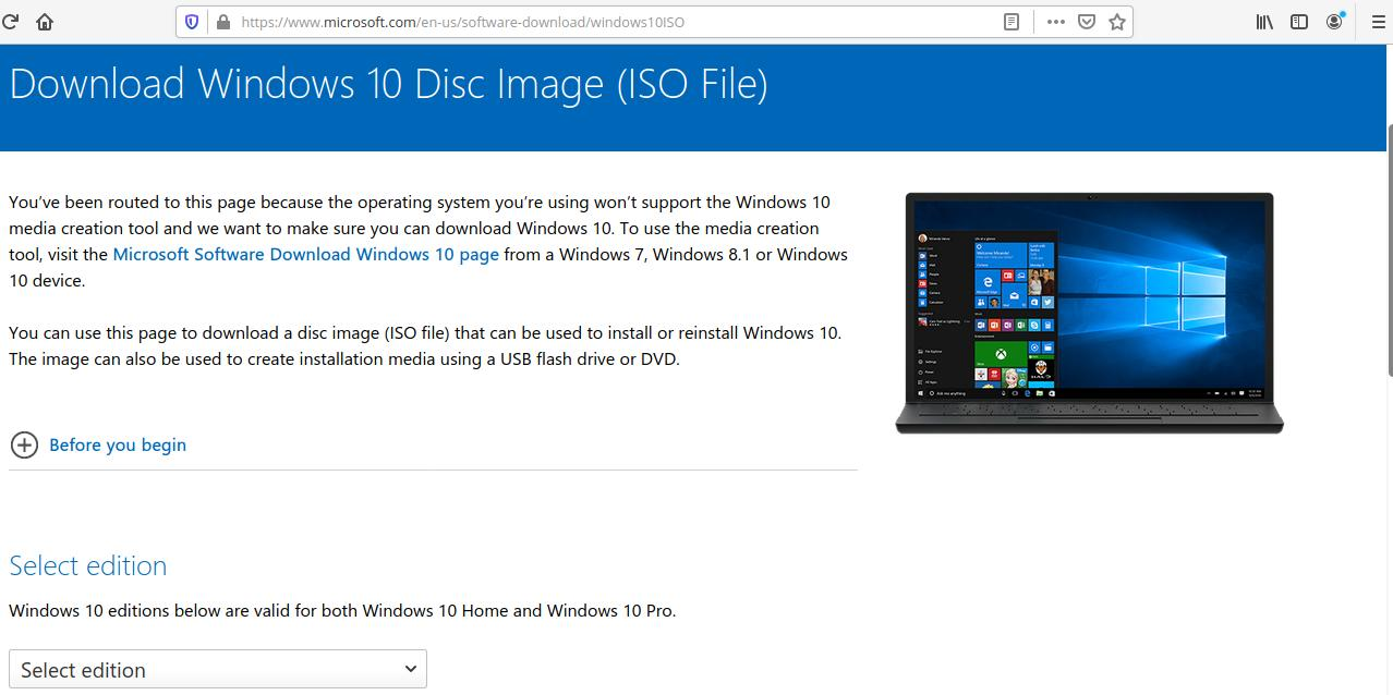 Download Windows 10 ISO secara langsung