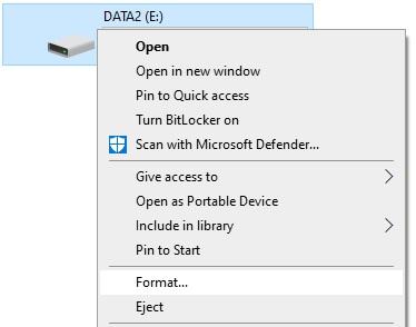 Pilih FAT32 atau NTFS saat format hardisk atau USB